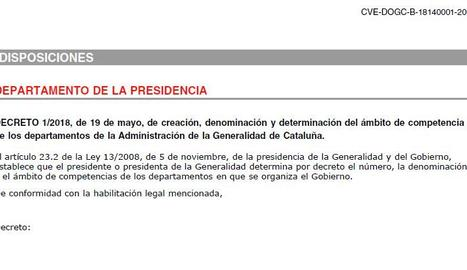 DOGC_ Competències de les conselleries de la Generalitat
