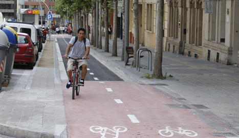 El carril bici de rambla Aragó de Lleida, a punt