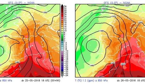 En colors vermells s'aprecia com la massa d'aire càlid emergirà del nord d'Àfrica i afectarà la Mediterrània Occidental