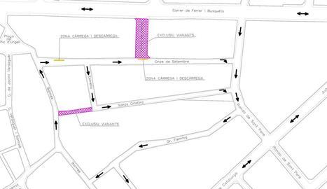 El mapa que especifica el nou sentit dels carrers.