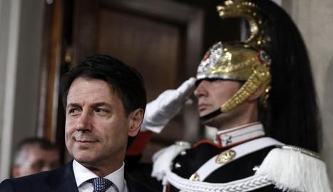 El candidat a primer ministre d'Itàlia, Giuseppe Conte, ahir.
