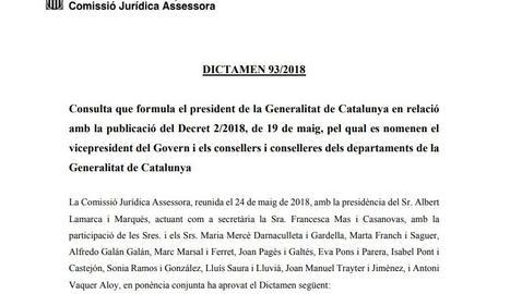 El dictamen de la Comissió Jurídica Assessora de la Generalitat conclou que el Govern espanyol ha de permetre la publicació dels nomenaments dels consellers