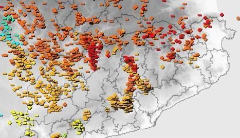 Gràfic dels llamps detectats a Catalunya aquest dilluns.