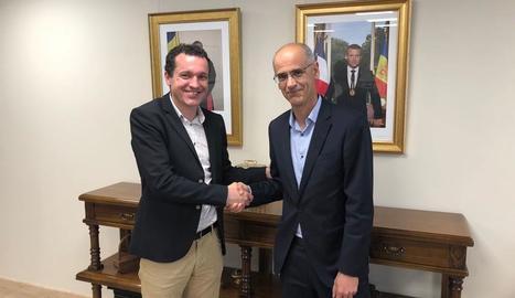 Òscar Ordeig i el cap del Govern d'Andorra, Toni Martí.