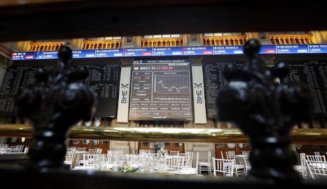 La Borsa de Madrid, ahir, en números vermells.