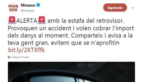 Alerten els conductors de l'estafa del retrovisor