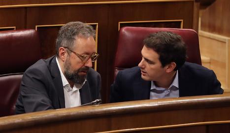 El líder de Ciutadans, Albert Rivera, amb el portaveu del grup al Congrés,
