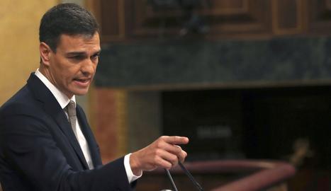 Pedro Sánchez, durant la seua intervenció al debat de la moció de censura a Rajoy.
