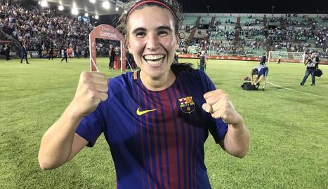 Mariona Caldentey, eufòrica després de guanyar la Copa de la Reina amb el seu gol en l'últim minut.