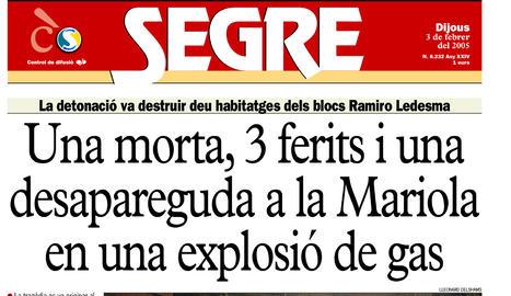 Una explosió de gas causa tres morts i tres ferits