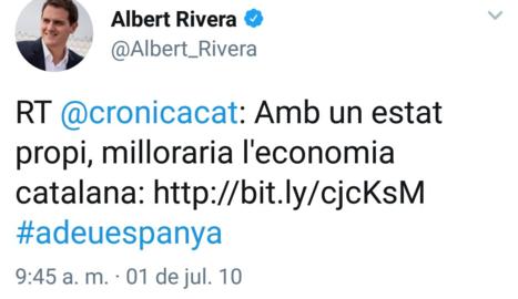 Retweet d'Albert Rivera a favor de l'estat propi a Catalunya