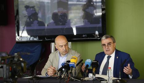 Àngel Ros i Rafael Peris, a la roda de premsa d'ahir.