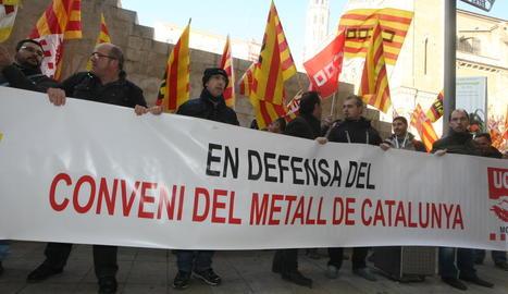 Protesta dels treballadors del metall a Lleida, el 2013.