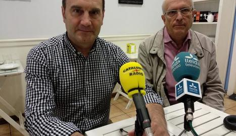 El president Enric Duch i el vicepresident, Jordi Carbonell, ahir a la roda de premsa.