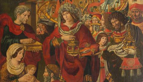 L''Adoració dels Reis Mags' és un oli sobre taula de pi de 155,5 per 130,5 centímetres.