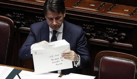 El nou president del Govern italià, Giuseppe Conte, ahir a la Cambra dels Diputats.