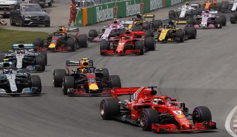 Sebastian Vettel celebra el seu triomf en el Gran Premi del Canadà, on va aconseguir el liderat del Mundial.