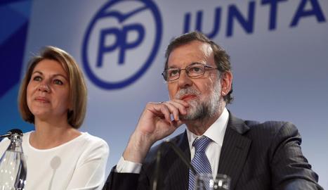 El president del PP, Mariano Rajoy, ahir, durant la junta directiva.
