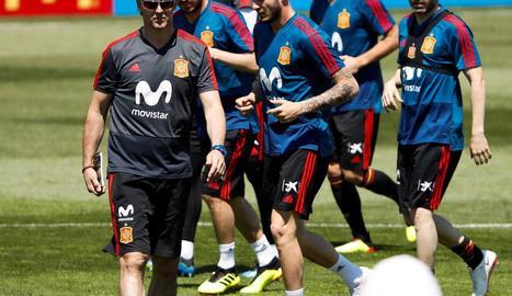 Julen Lopetegui, durant la sessió d'entrenament de la selecció espanyola a Krasnodar.