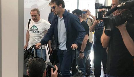 Fernando Hierro, ahir al costat de Luis Rubiales en la roda de premsa conjunta que van oferir.