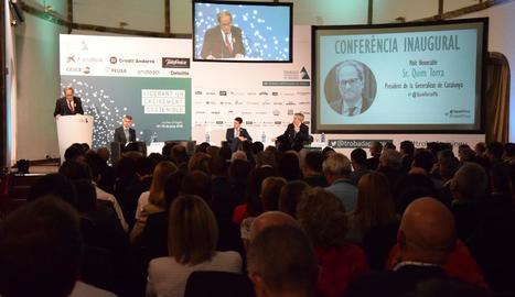 El president de la Generalitat, Quim Torra, ahir a la Trobada Empresarial al Pirineu, a la Seu.