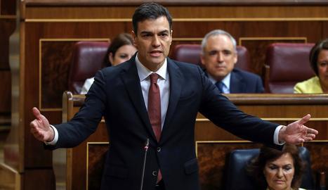 Pedro Sánchez aquest dimecres durant la seua primera sessió de control al Conrgés.