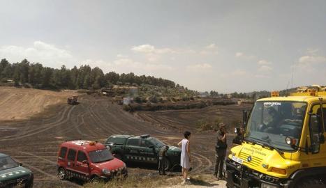 Efectius de Rurals i Bombers, ahir a l'incendi en un camp de pèsols a Maldà, a l'Urgell.