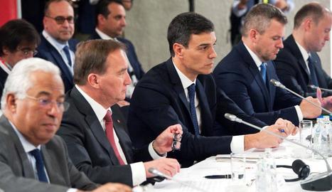 El president del Govern espanyol, Pedro Sánchez, ahir, a la cimera europea.