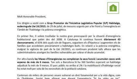 El grup promotor de la ILP Habitatge envia una carta a Quim Torra abans de la reunió amb Sánchez
