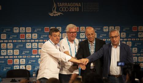 Un moment de la cerimònia de cloenda dels Jocs Mediterranis, que va tenir lloc ahir a Tarragona.