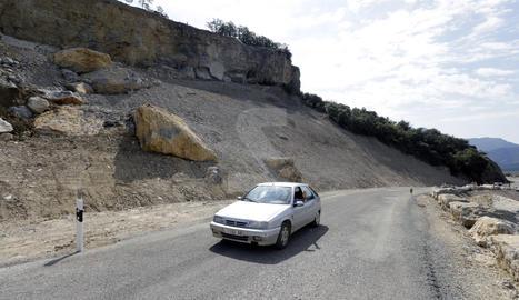 La carretera de Castell de Mur, reoberta aquest dimarts.