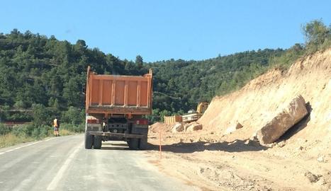 Els treballs a la carretera de Cervià a les Borges Blanques.