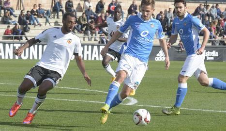 Marc Martínez, en un dels partits de la seua anterior etapa en el Lleida.