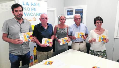 Els responsables del Banc d'Aliments de Lleida, ahir durant la presentació de l'Informe 2017.
