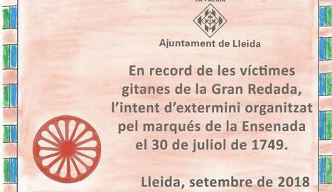 Placa en homenatge a gitanos represaliats