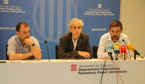 Riera, Anson i De Noguera, ahir durant la presentació de l'Observatori del Món Rural.