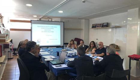 Un moment durant la reunió del consell i de l'IEA ahir.