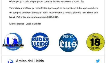 Comunicat de les penyes del Lleida