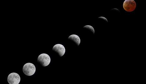 A dalt, imatge d'arxiu d'un eclipsi lunar. A baix, seqüència del que va tenir lloc l'any 2007.