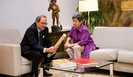 La lleidatana Teresa Cunillera, ahir al costat del president, Quim Torra, al Palau de la Generalitat.
