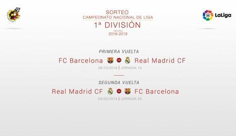 Aquestes són les dates del calendari de la Lliga de futbol