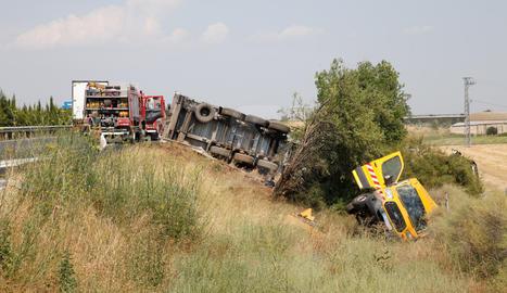 Espectacular accident a l'autovia A-2