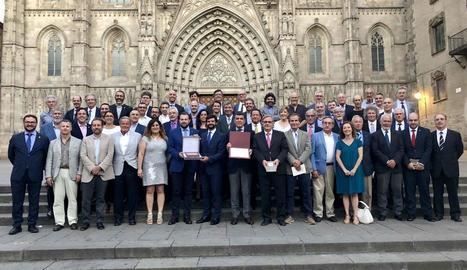 La Secretaria General de l'Esport i la Unió de Federacions Esportives de Catalunya, després de l'acord.