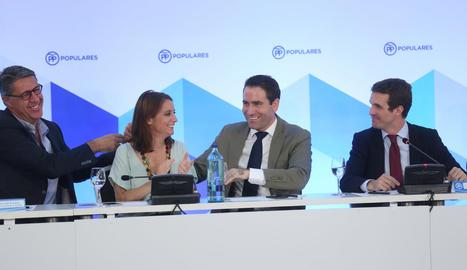 Xavier García Albiol, Andrea Levy, Teodoro García Egea i Pablo Casado, ahir en el comitè executiu del PP celebrat a Barcelona.