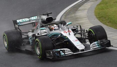 Lewis Hamilton, ahir durant els entrenaments oficials a Hungaroring.