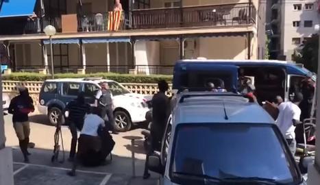Imatge d'un enregistrament de l'enfrontament ahir, a Salou.