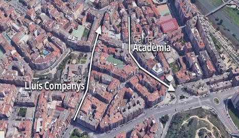 Els carrers Lluís Companys i Acadèmia, unidireccionals a partir del 8 d'agost