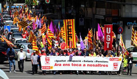 Els sindicats van reclamar el passat 1 de Maig la recuperació de drets i llocs de treball i salaris dignes.