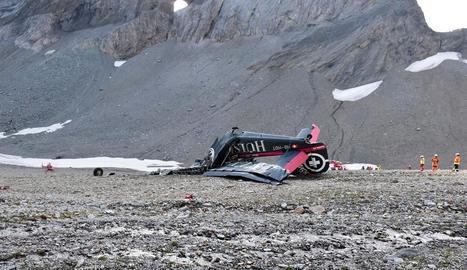 Foto que mostra les restes de l'avió Junkers JU-52 després d'estavellar-se a Flims.