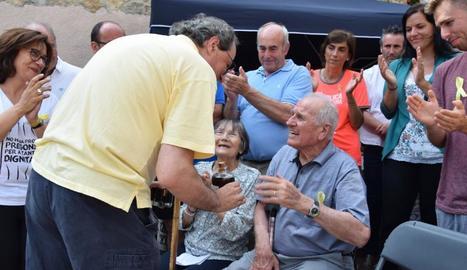 El president de la Generalitat, Quim Torra, en l'últim tram del Camí dels Bons Homes que va fer ahir.